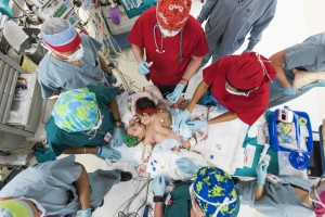 Surgeons prepare the Mata conjoined twins for their separation surgery at Texas Children's Hospital in Houston.