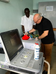 Dr. Steven J. Kraus images a patient at Bugando Medical Centre in Mwanza, Tanzania using Toshiba's Viamo ultrasound system.