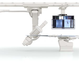 """Toshiba's Infinix-i Sky + angiography system delivers fast 3D imaging anywhere, featuring a """"double C-arm"""" that allows for flexible positioning to help clinicians increase coverage, speed and patient access."""
